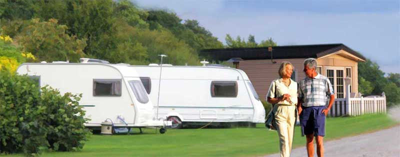 couple in caravan park